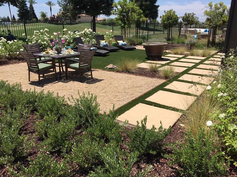 custom designed backyard overlooking golf course